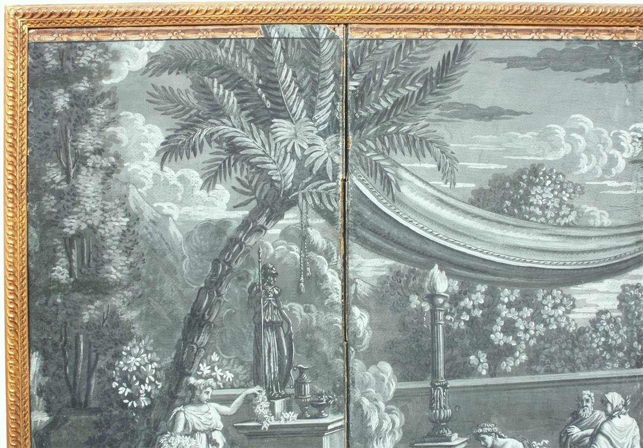 19th century zuber grisaille wallpaper screen at 1stdibs - Papier peint grisaille ...
