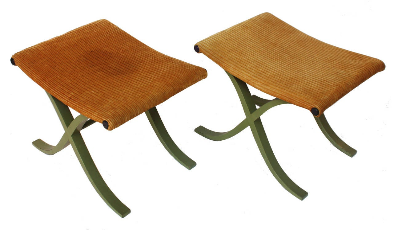 Hollywood Regency / X-form stools by Plycraft, Inc. with vintage wide wale corduroy upholstery fabric