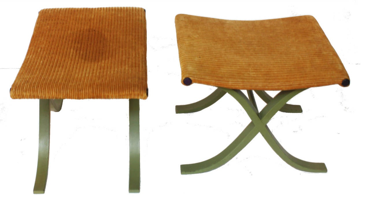 Pair of X-Form Stools by Plycraft, Inc. 3