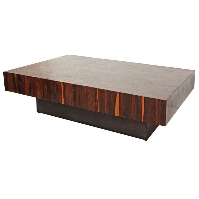 low profile platform coffee table with oystered rosewood