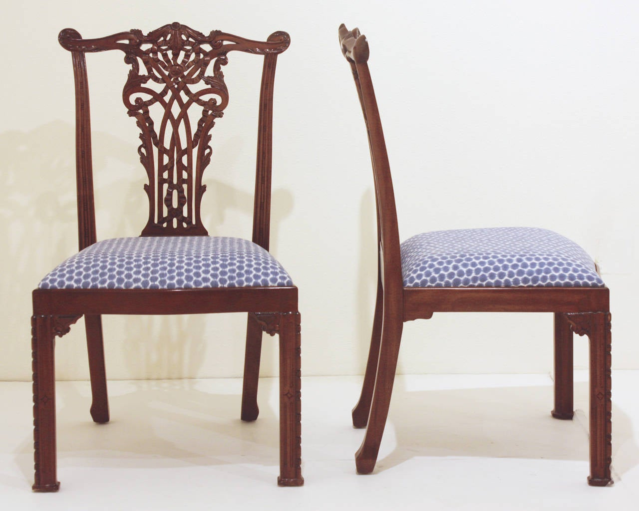 Indonesian Set Of 16 Chippendale Style Ribband Back Chairs By Maitland Smith  For Sale