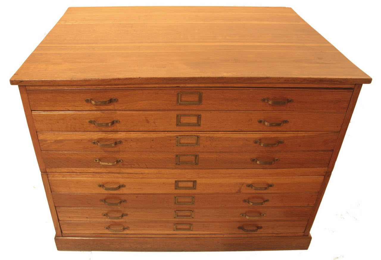 Georgian George VI Eight Drawer Tiger Oak Map / Plans Chest For Sale