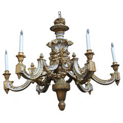 Large Italian Carved Wooden Six-Light Chandelier