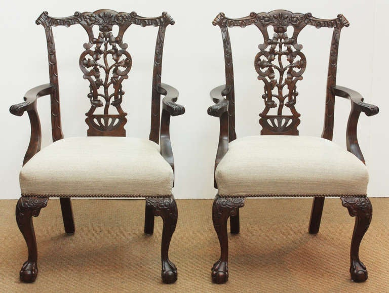 Set Of 14 Chippendale Style Ribband Back Chairs At 1stdibs