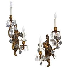 Pair of Maison Baguès Gilt Bronze and Rock Crystal Sconces with Parrots