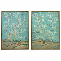 Large Pair of Chinese Painted Wallpaper Panels