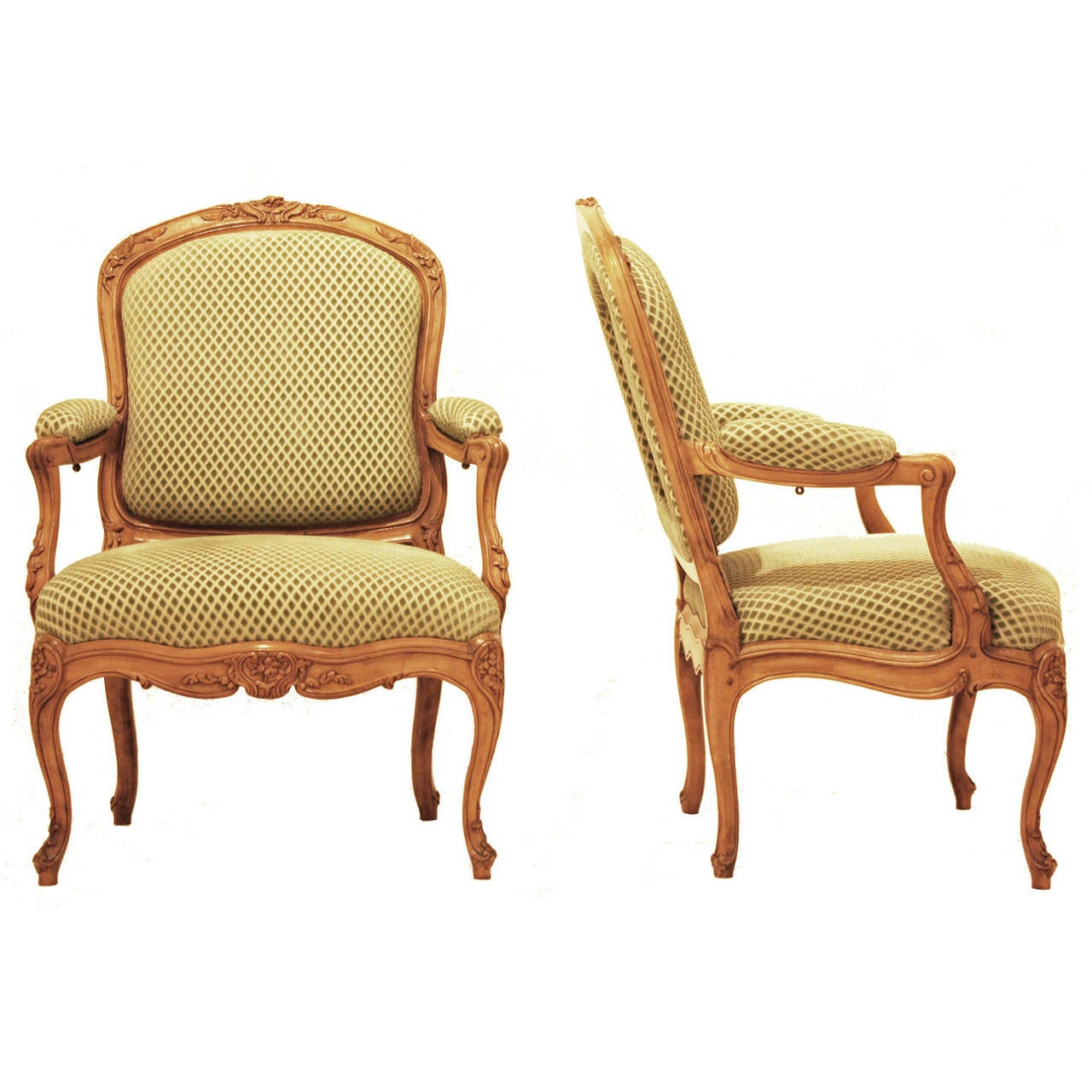 Pair of French Louis XV Style Beechwood Fauteuils For Sale