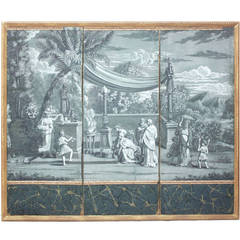 19th Century Zuber Grisaille Wallpaper Screen
