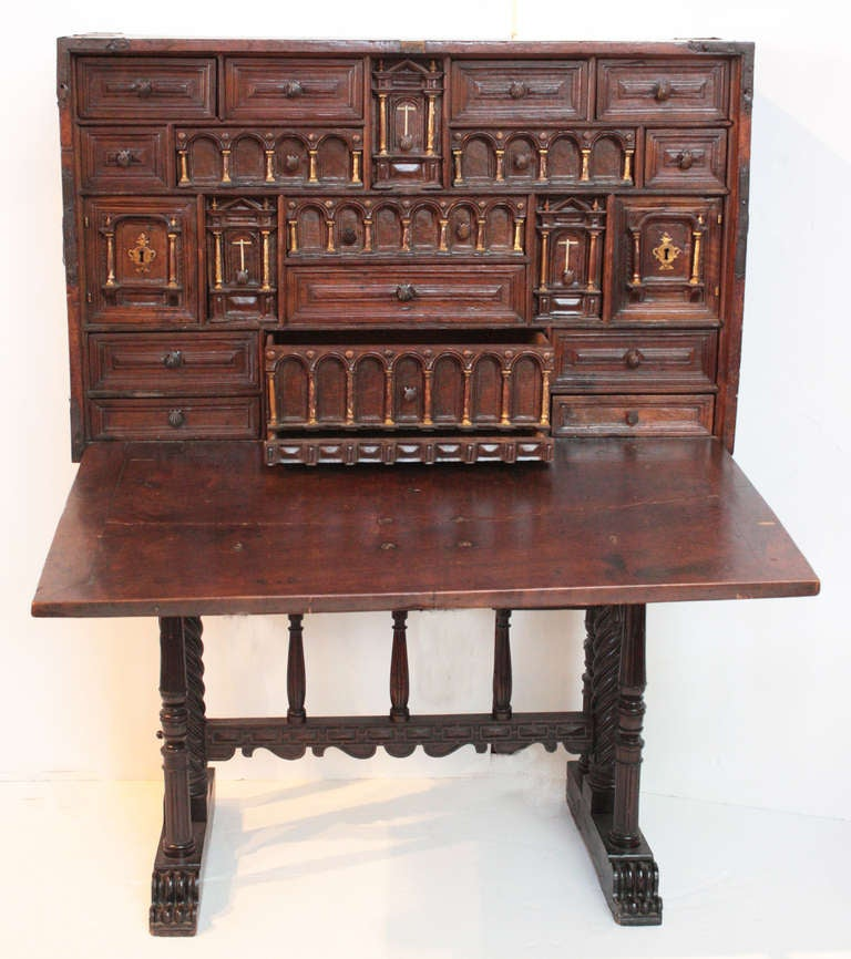 "Spanish vargueno, 16th century, rare and important architectural design featured in the book ""Antique Spanish Furniture"" page 44, plate 27