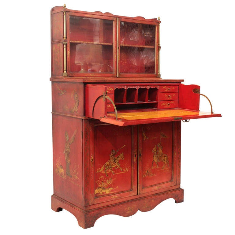 19th C Red Chinoiserie Secretary Cabinet At 1stdibs