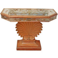 Mirrored Console with Carved Shell Base circa 1940s