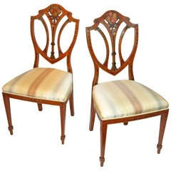 Pair of Painted Edwardian Satinwood Shield Back Chairs