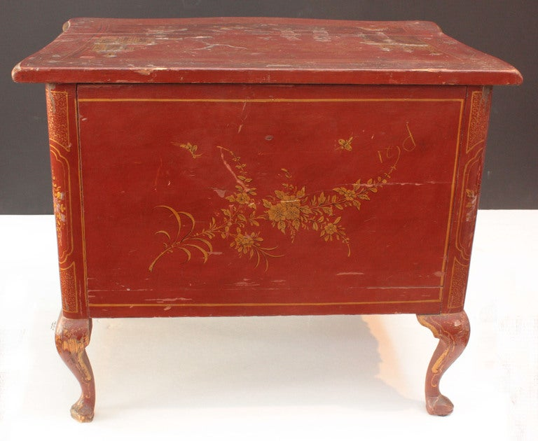 Small Red Chinoiserie Chest of Drawers 3