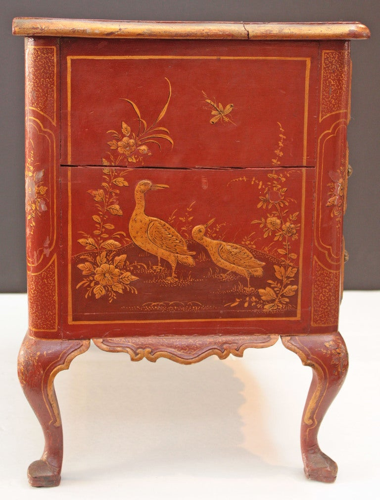Small Red Chinoiserie Chest of Drawers 4