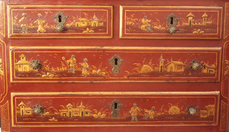 Small Red Chinoiserie Chest of Drawers 5