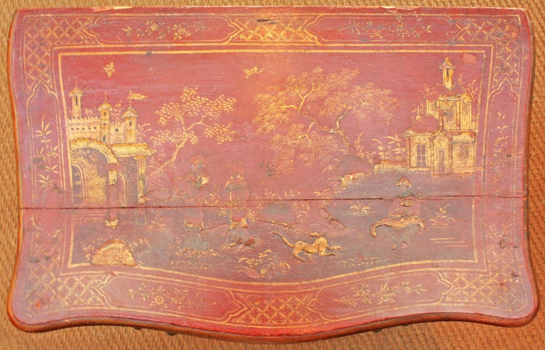 Small Red Chinoiserie Chest of Drawers 6