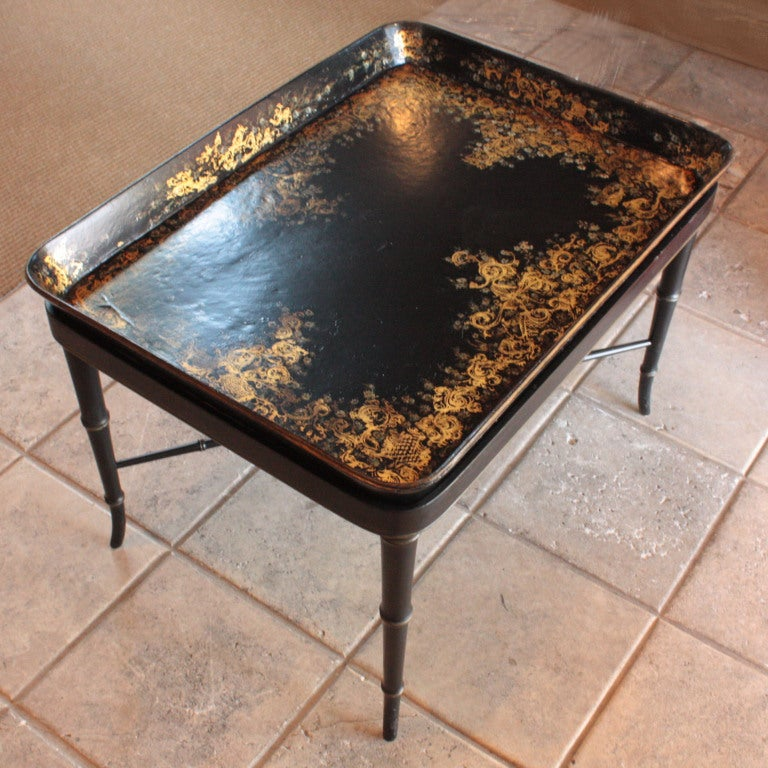 Papier Mache 39 Tray On Stand At 1stdibs
