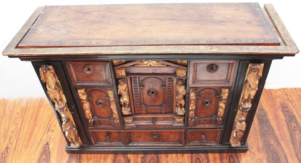 Italian Bambocci Cabinet of Walnut and Ebony with Giltwood Figures For Sale