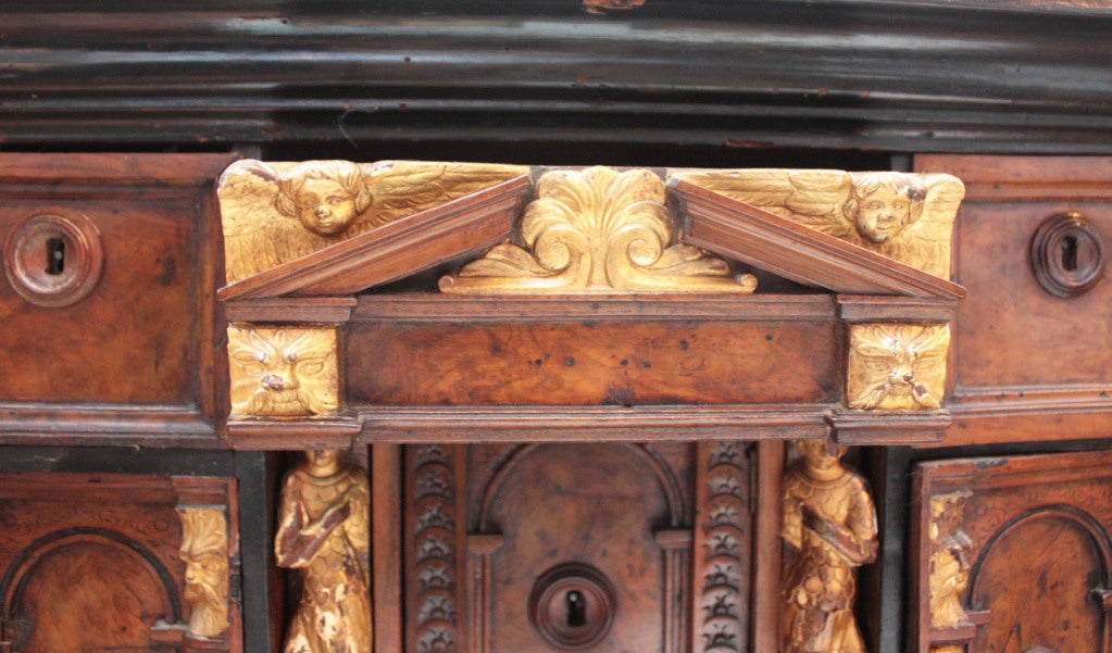18th Century and Earlier Bambocci Cabinet of Walnut and Ebony with Giltwood Figures For Sale