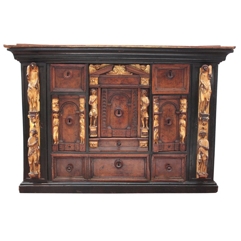 Bambocci Cabinet of Walnut and Ebony with Giltwood Figures For Sale