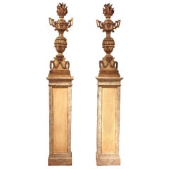18th Century Italian Torcheres on Early 20th Century Plinths
