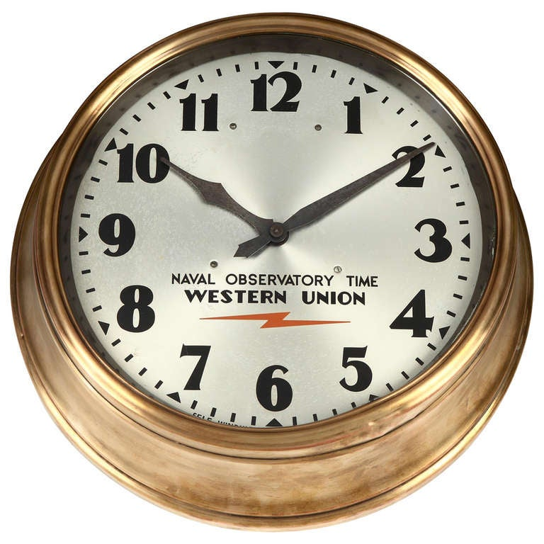 Western union clock at 1stdibs for Western wall clocks for sale