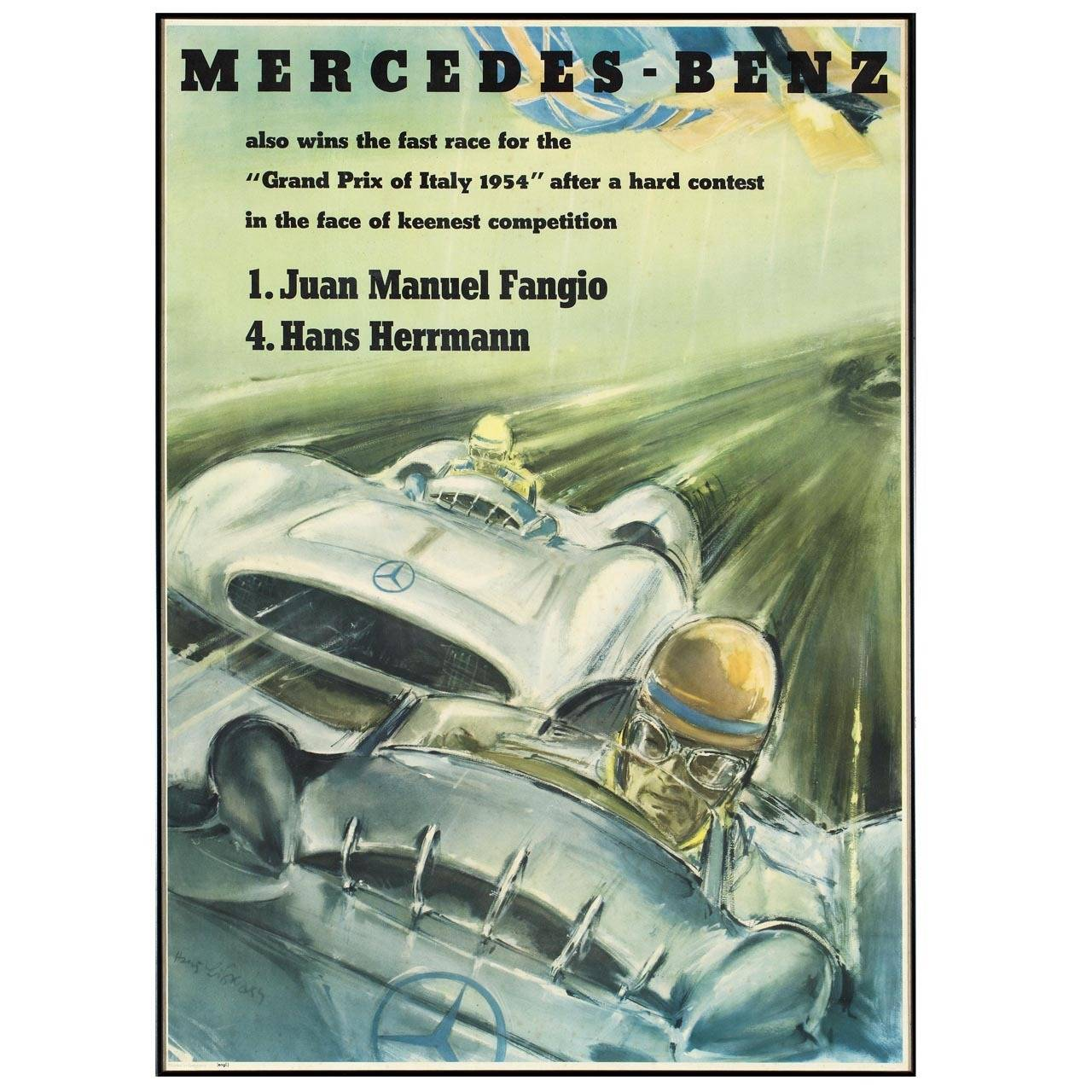 Original mercedes benz poster by hans liska for sale at for Mercedes benz wall posters