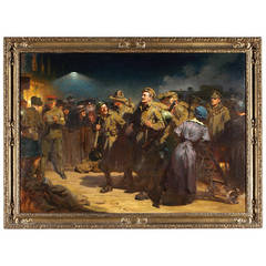 'The Return of the Victors, Waterloo Station 1918,' Oil on Canvas Painting