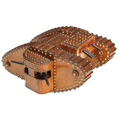 A wooden Great War Mark IV Trench Art tank model c. 1918