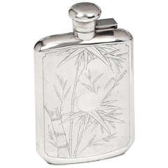 Art Deco Sterling Silver Hipflask by Jack Hing