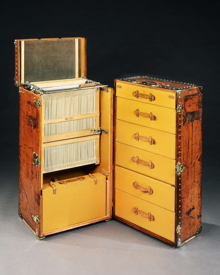 Art Deco All-Leather Wardrobe Trunk by Louis Vuitton For Sale