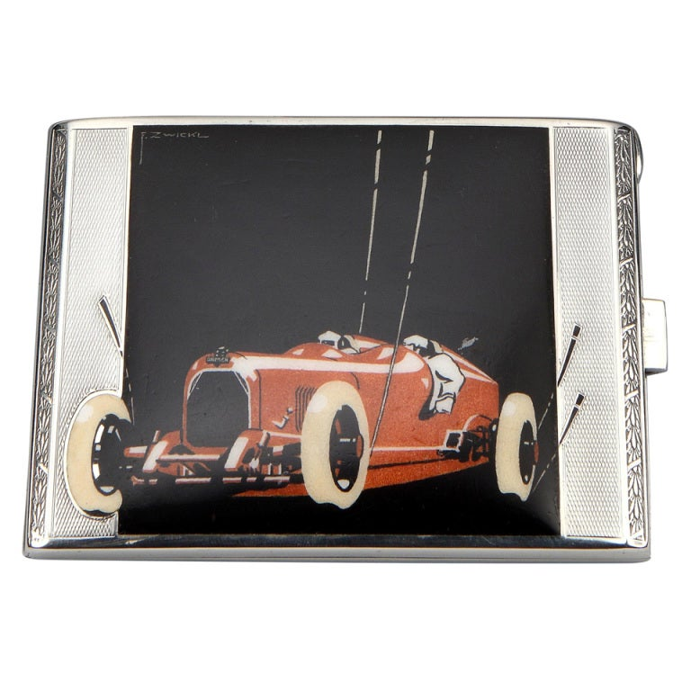 Very rare 'Racing Car' Art Deco Cigarette Case by E. Zwickl ca. 1928 1