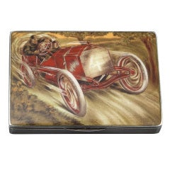 Very Rare 'Pneus Jenatzy' Silver and Enamel Cigarette Case ca. 1903