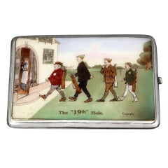 'The 19th Hole' Sterling Silver and Enamel Golf Cigarette Case, 1913