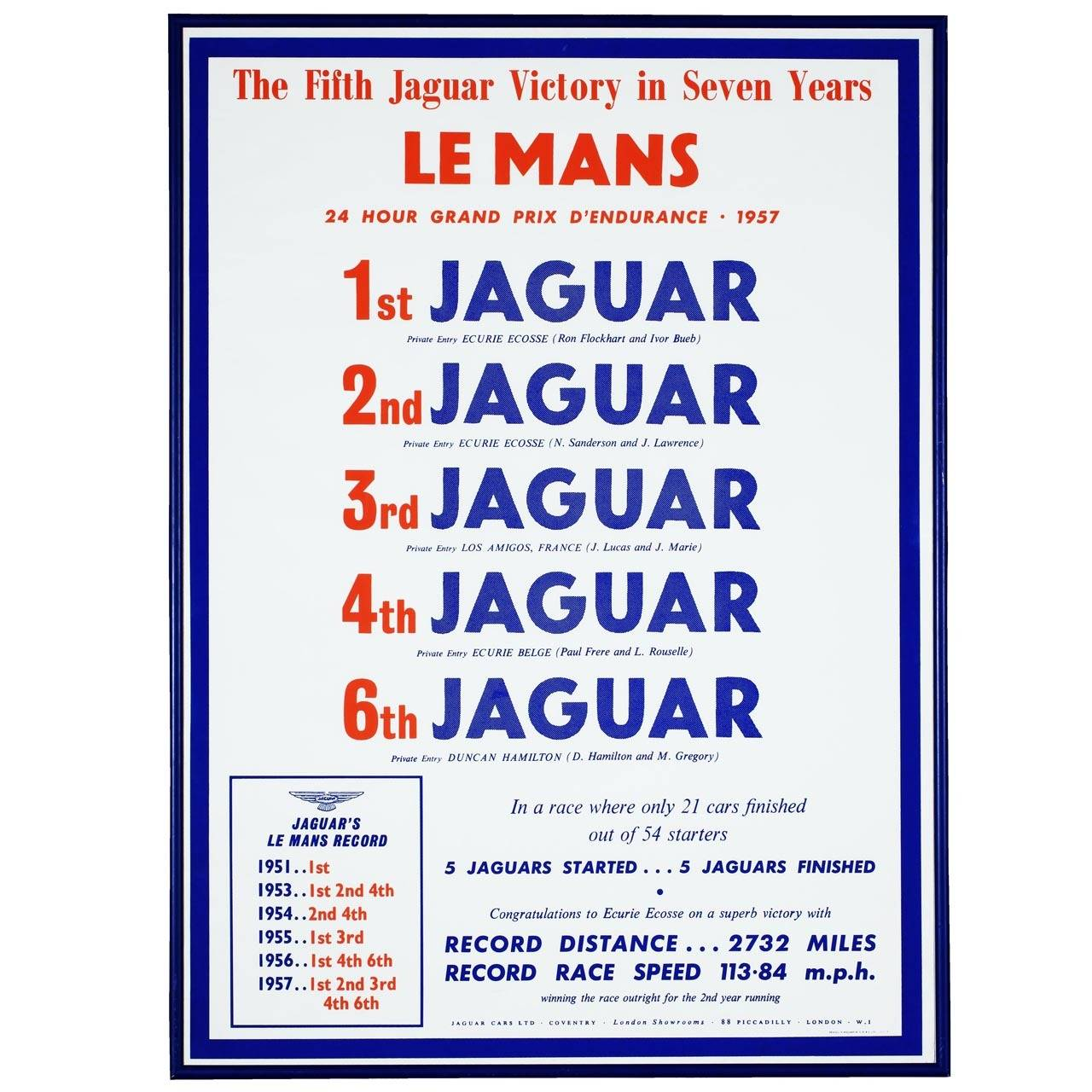 Jaguar Cars Factory Poster, 1957 For Sale
