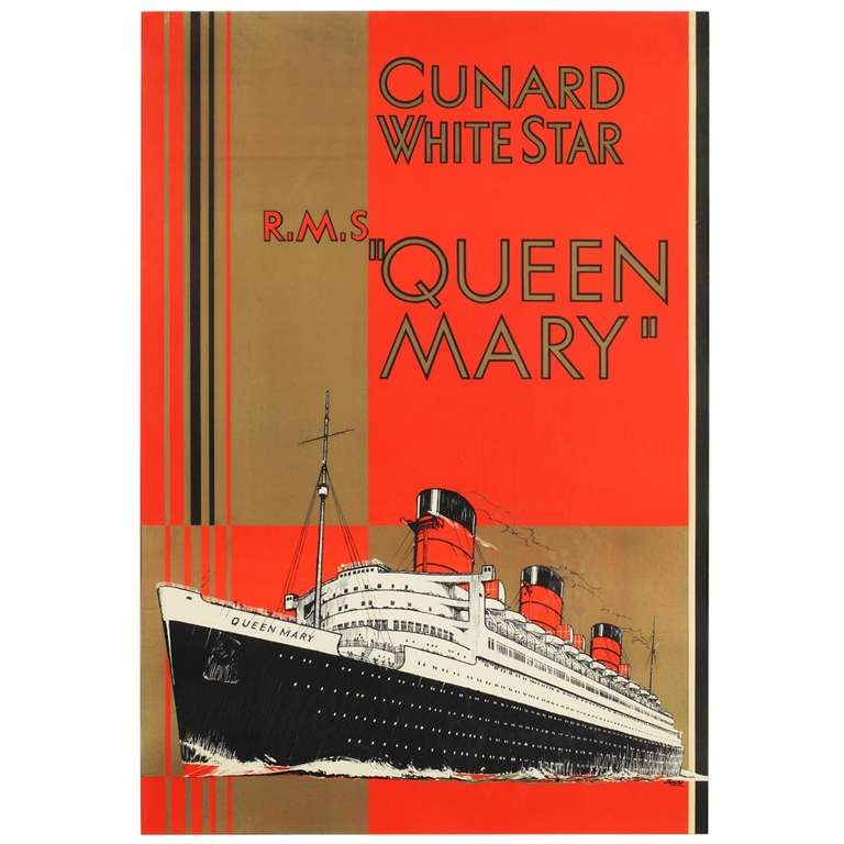 Original Cunard White Star Rms Queen Mary Poster At 1stdibs
