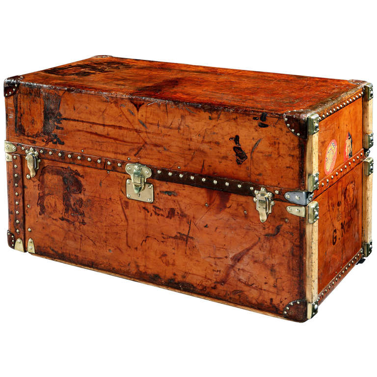 All-Leather Wardrobe Trunk by Louis Vuitton For Sale