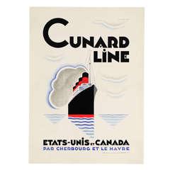 Original Cunard Line Poster by Alexey Brodovitch