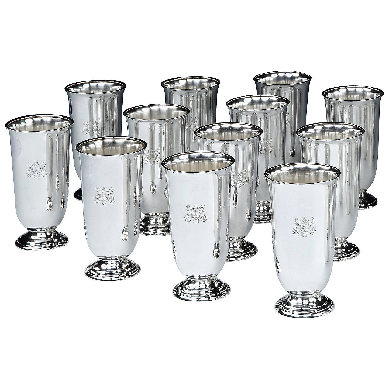 Set of 12 sterling-silver julep cups, 1930s, offered by Pullman Gallery