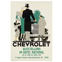 Rare Art Deco Chevrolet Advertising Poster