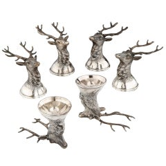 Russian Silver 'Stag' Stirrup Cups, 1897-1908