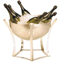 Giant, Modernist Sterling silver Champagne cooler