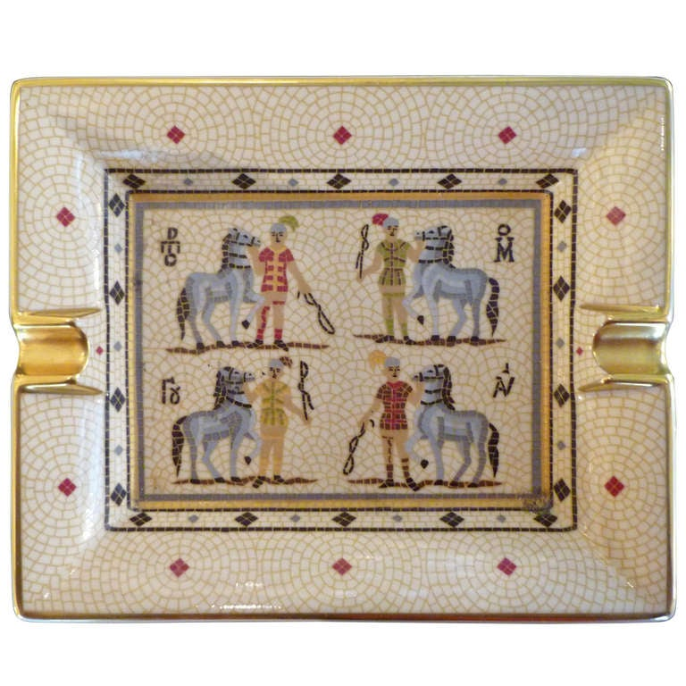 Hermes ashtray with horses and riders 'mosaic' decoration For Sale