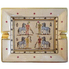 Hermes ashtray with horses and riders 'mosaic' decoration