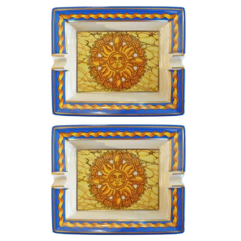 Pair of Hermès Ashtrays with Sun Decoration