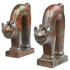 Bronze Cat Bookends