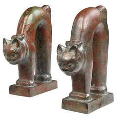 Bronze Cat Bookends