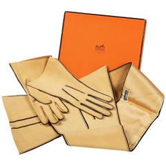 Hermès Sport Cream Suede Riding Gloves