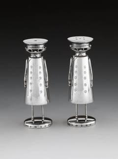 """Sterling Silver """"Edwardian Motorist"""" Salt & Pepper Pots"""