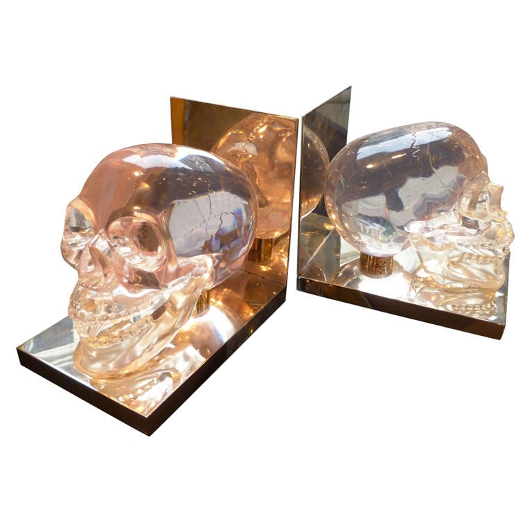 Lucite 39 Skull 39 Bookends At 1stdibs